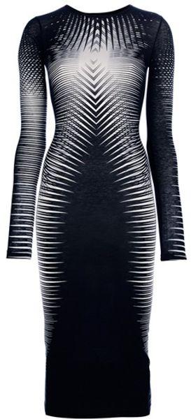 Gareth Pugh Striped Fitted Dress in Black