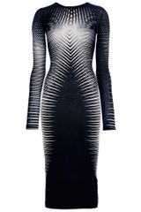 Gareth Pugh Striped Fitted Dress in Black - Lyst