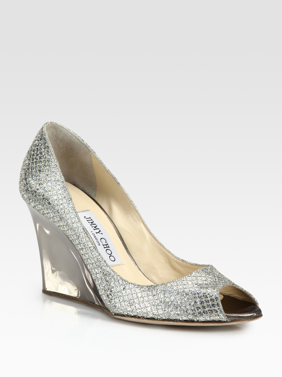 2bbed2aaf2c Lyst - Jimmy Choo Baxen Glitter Wedge Pumps in Metallic