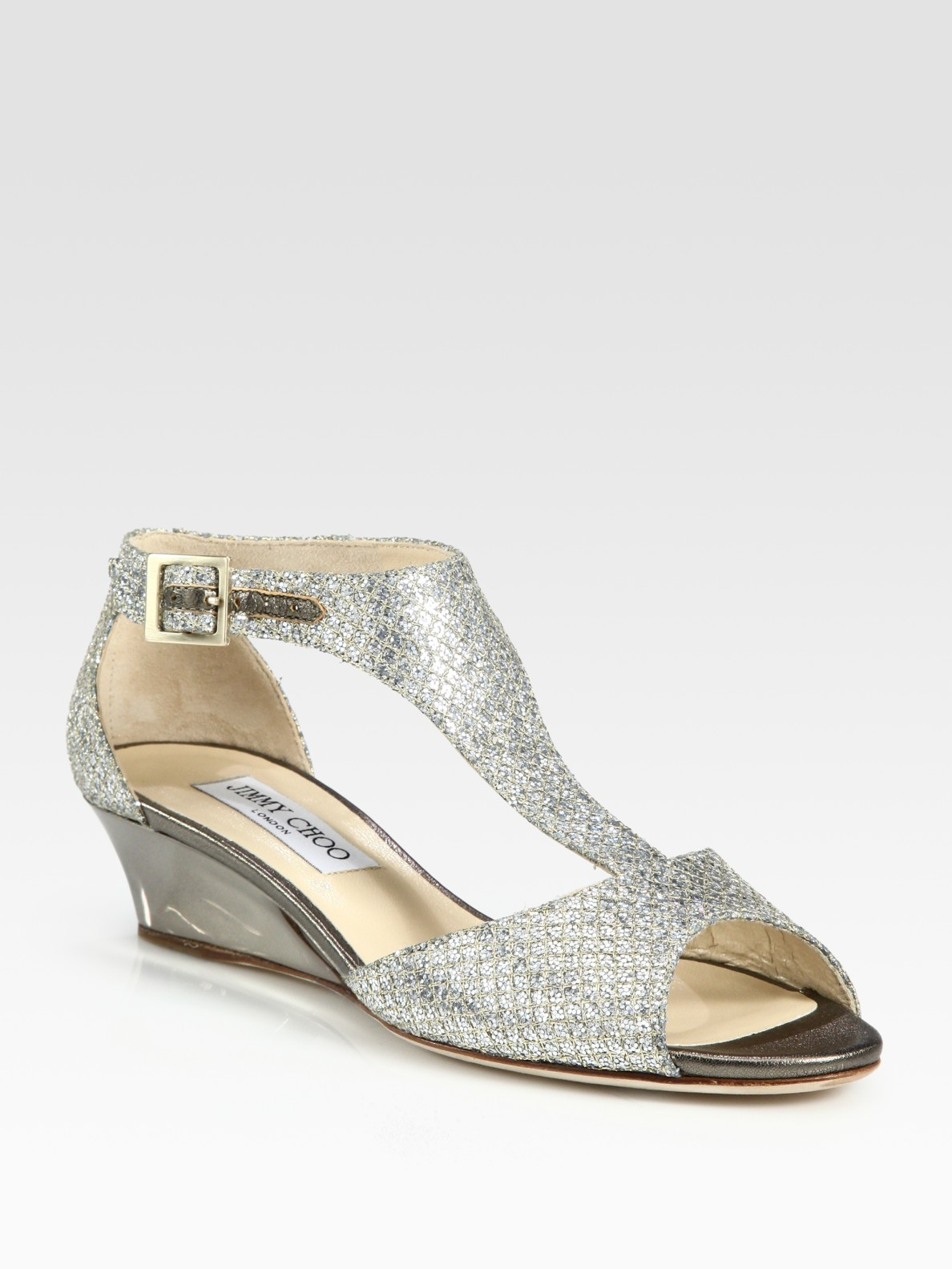 jimmy choo treat glitter tstrap wedge sandals champagne