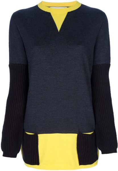 Marni Contrast Sweater in Gray (grey) - Lyst