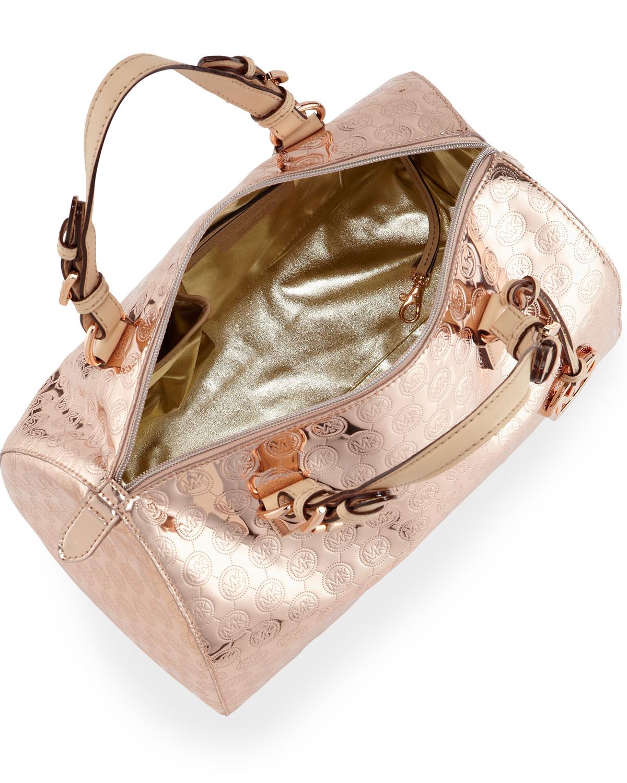 michael kors grayson large satchel rose gold in metallic. Black Bedroom Furniture Sets. Home Design Ideas