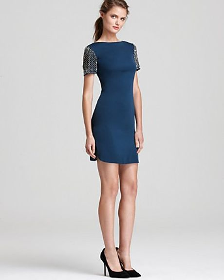 Sachin & Babi Short Sleeve Dress Kix Hand Embellished Sleeves in Blue (sapphire) - Lyst