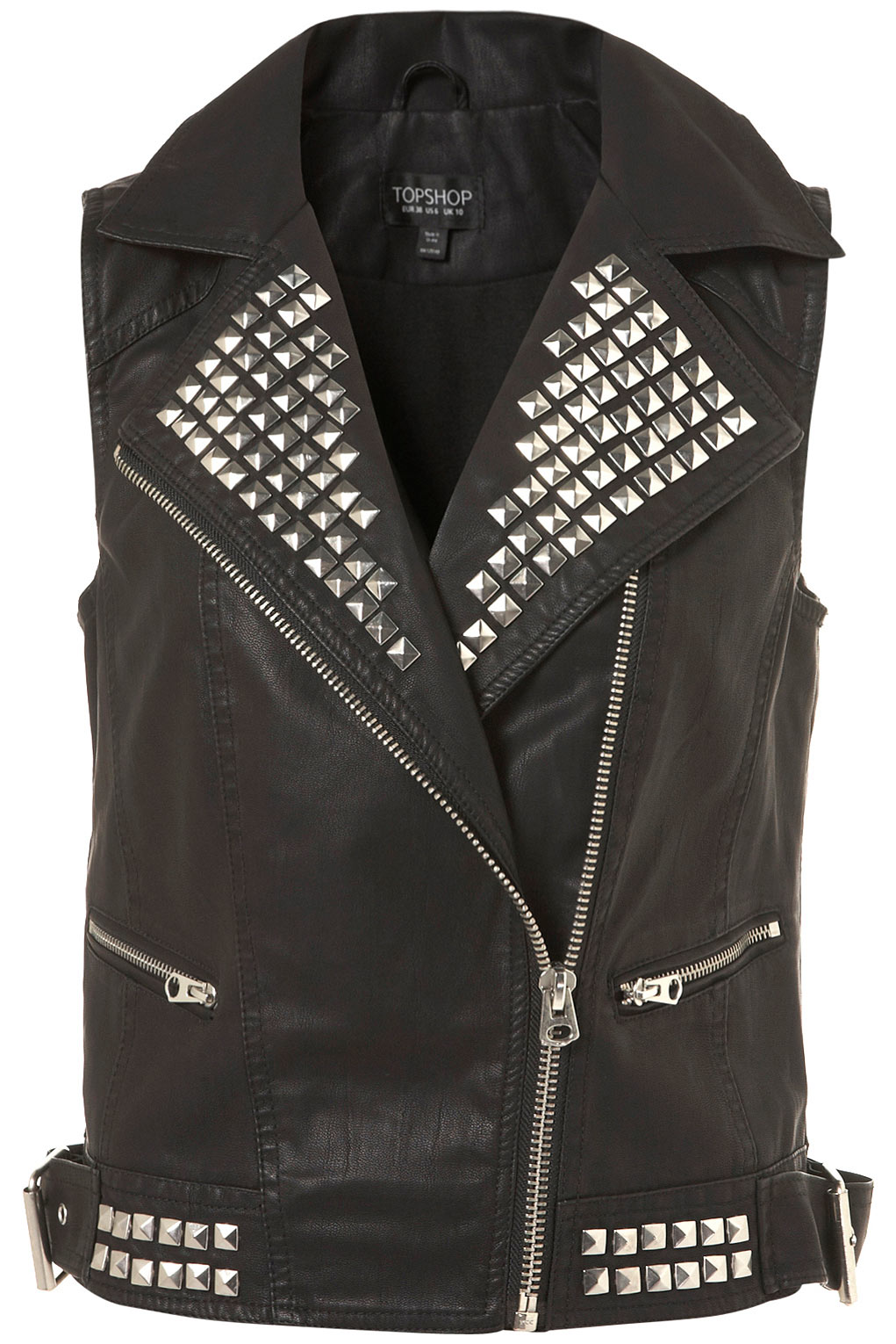 Lyst Topshop Studded Sleeveless Jacket In Black
