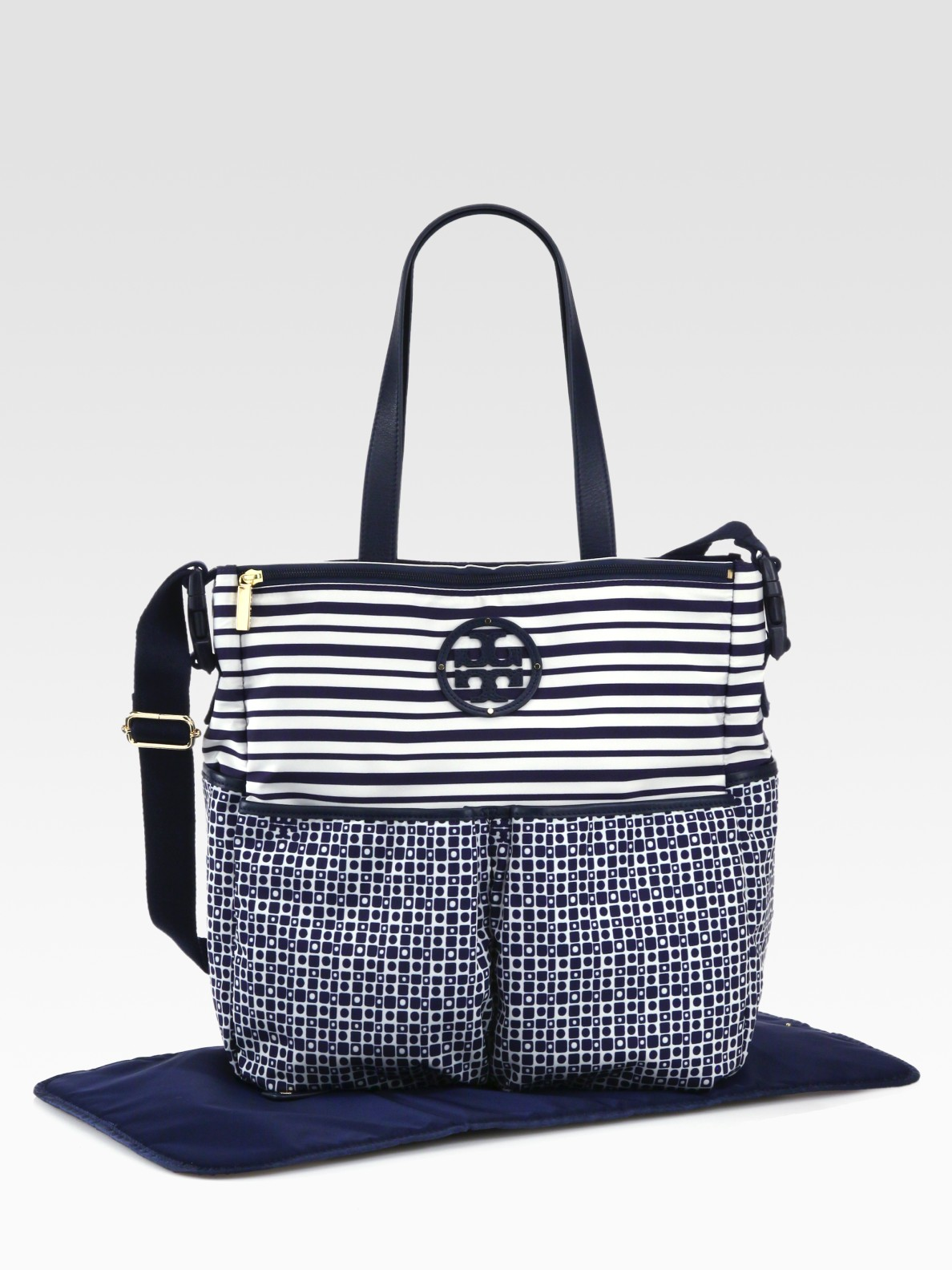 tory burch mixedprint nylon diaper bag in blue navy lyst. Black Bedroom Furniture Sets. Home Design Ideas