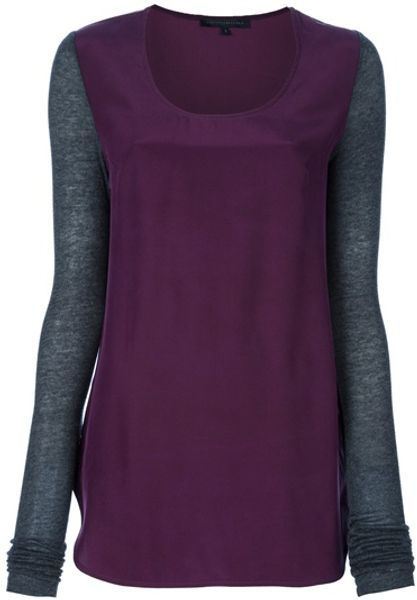 Victoria Beckham Long Sleeve Top in Purple - Lyst