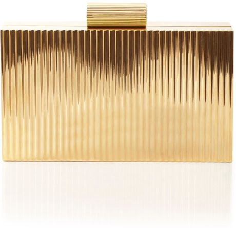Charlotte Olympia Lipstick Pandora Clutch in Gold