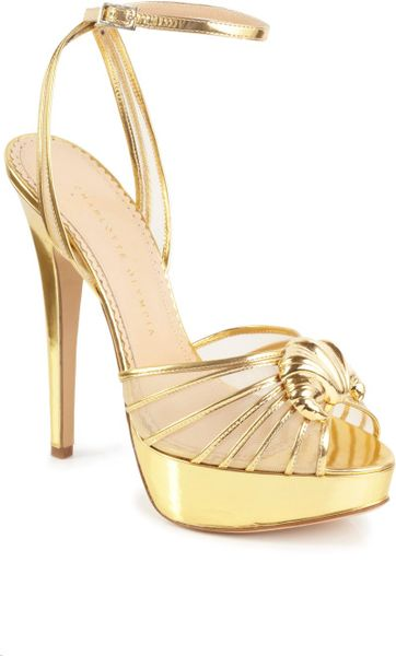 Charlotte Olympia Ss Opentoe Croissant Sandal in Gold