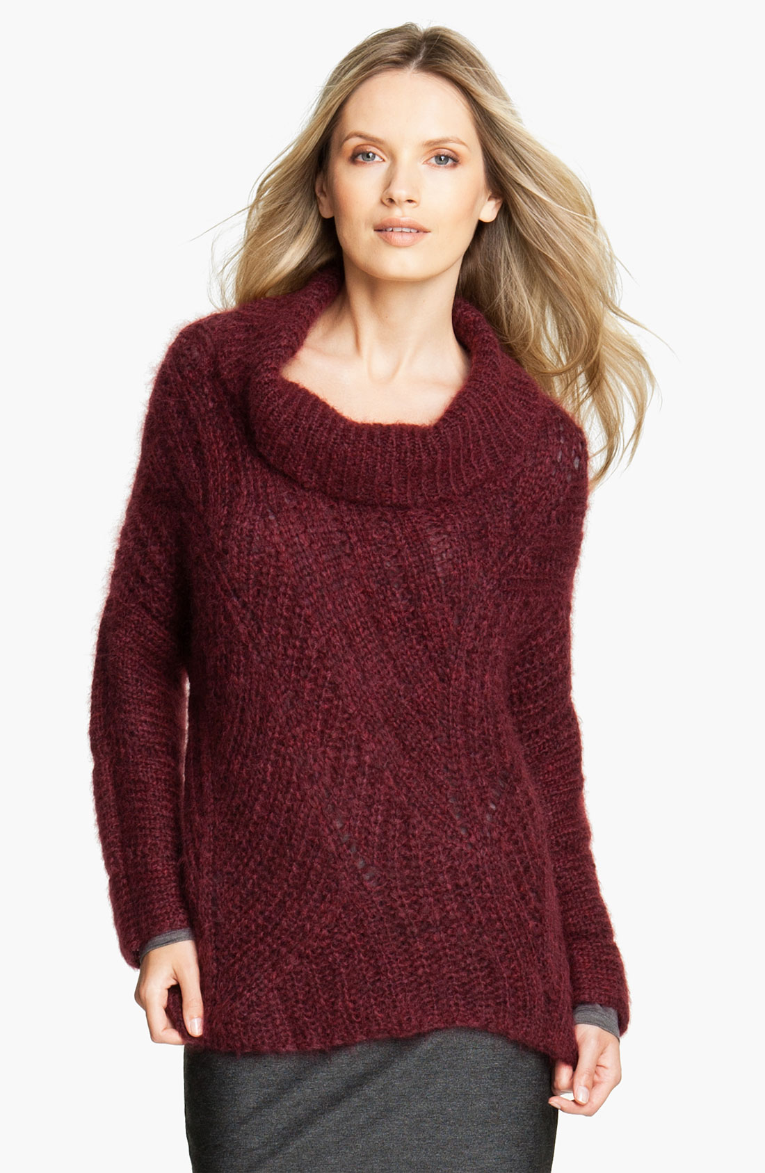 Eileen Fisher Funnel Neck Mohair Blend Sweater In Red