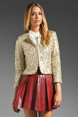 Alice + Olivia Brianna Open Front Box Jacket in Gold - Lyst