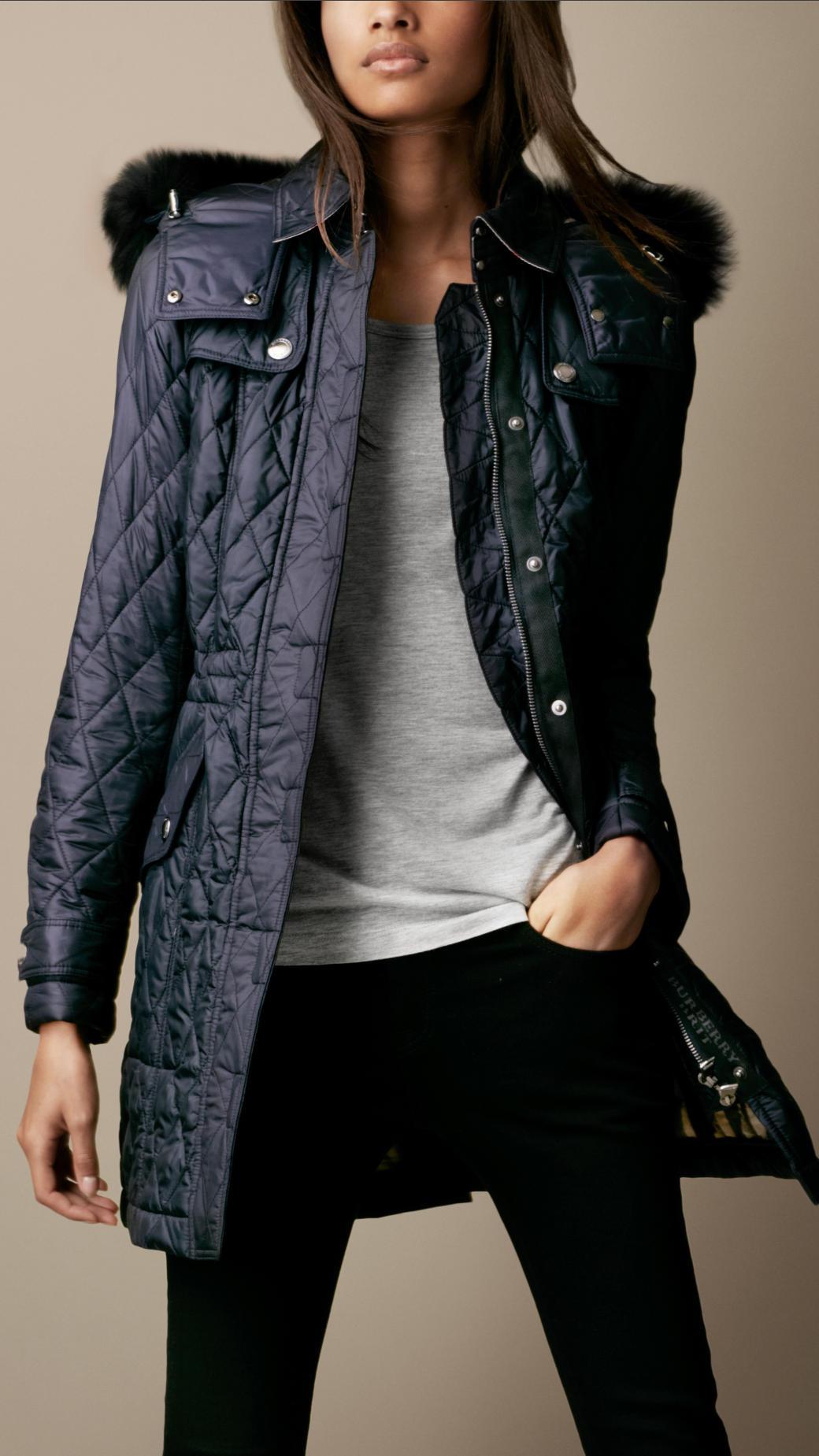 Lyst Burberry Brit Fur Trim Quilted Coat In Black