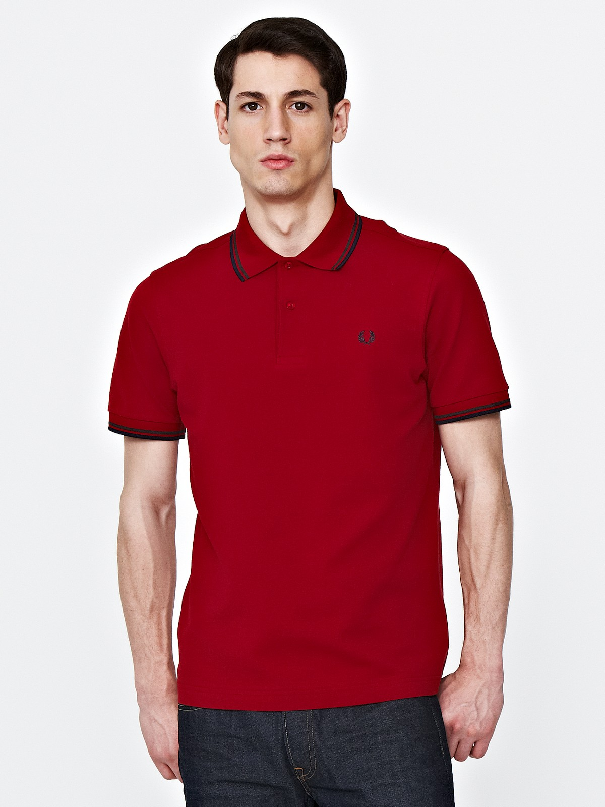 fred perry fred perry mens twin tipped polo in red for men lyst. Black Bedroom Furniture Sets. Home Design Ideas