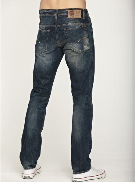 star raw gstar raw mens straight jeans in blue for men rugby wash. Black Bedroom Furniture Sets. Home Design Ideas