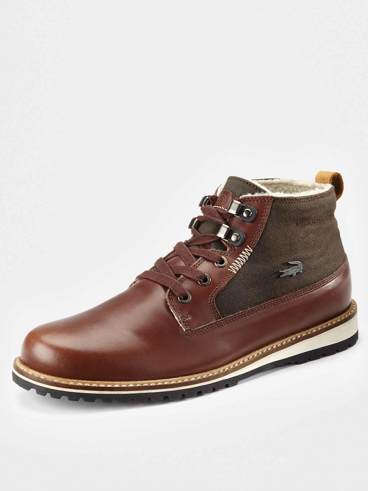 lacoste delevan 7 fur lined mens boots in brown for