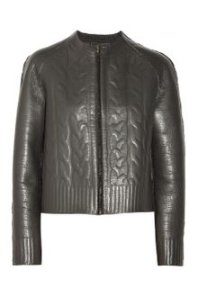 Lanvin Embossed Leather Jacket - Lyst