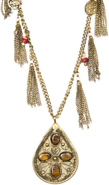 Mango Touch Tassels Pendant Necklace in Gold (94) - Lyst