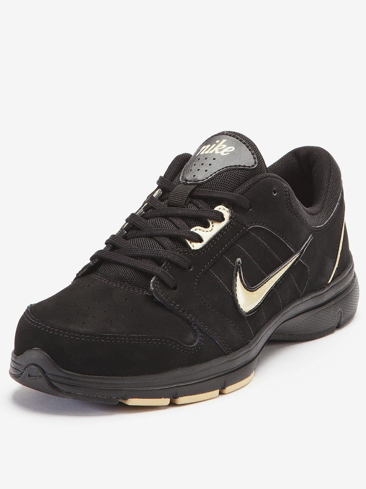 Black Women Leather Nike Support Shoes