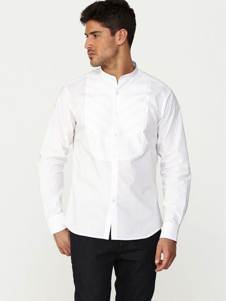 Paul costelloe mens grandad collar shirt in white for men Mens grandad collar shirt