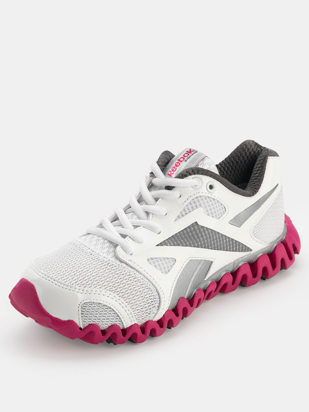 reebok zignano fly running shoes in white white grey pink