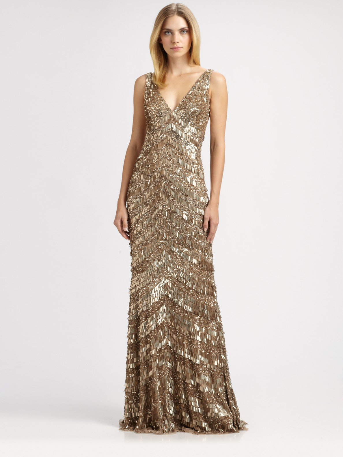 Lyst - Theia Art Deco Fringed Gown in Metallic