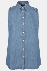 Topshop Moto Sleeveless Denim Shirt - Lyst