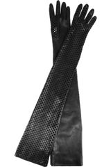 Versace Long Perforated Leather Gloves - Lyst