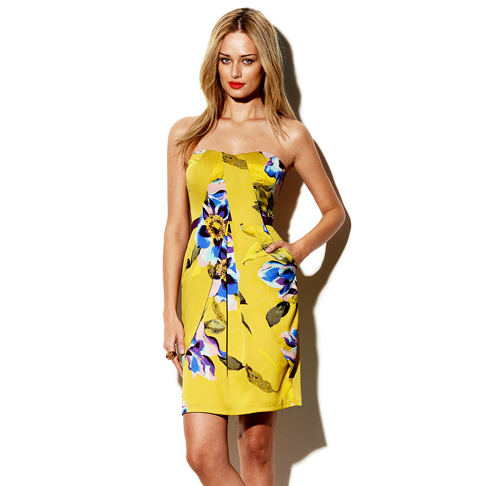 Vince camuto Summer Floral Strapless Dress in Yellow - Lyst