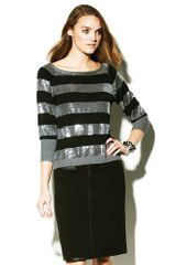 Vince Camuto Ribbed Sequin Stripe Sweater