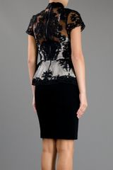Alice + Olivia Lace Peplum Dress in Black - Lyst