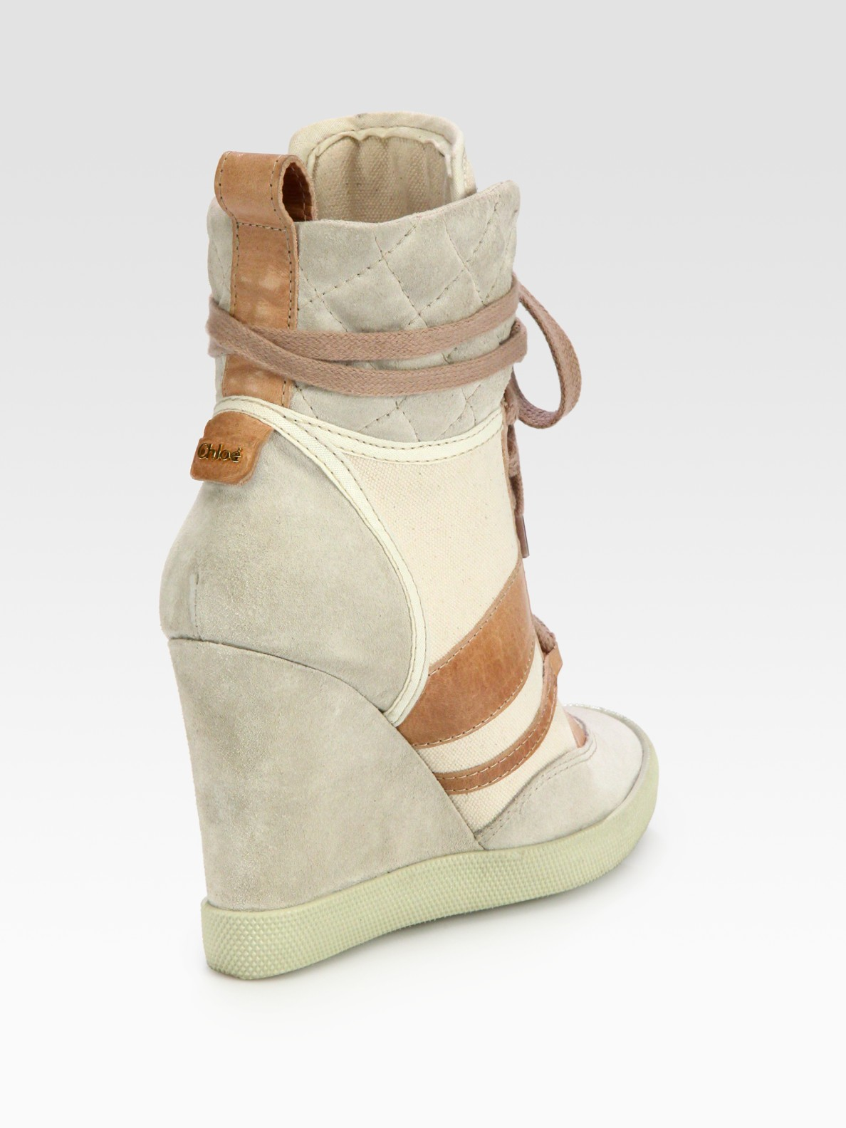 Lyst Chlo 233 Mixed Media Laceup Wedge Sneakers In Natural