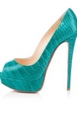 Christian Louboutin Lady Peep Croco in Blue - Lyst
