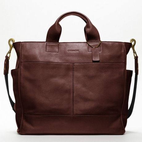 Coach Bleecker Legacy Leather Utility Tote in Brown for Men (burgundy)