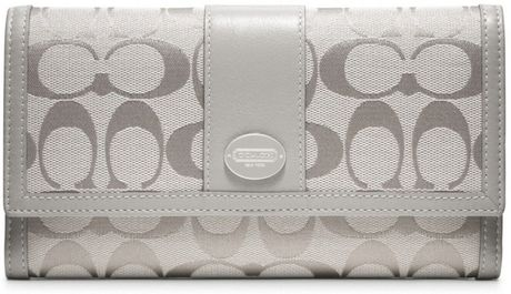 Coach Legacy Signature Checkbook Wallet in Gray (silver/grey)
