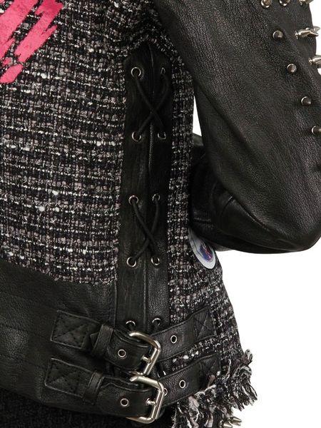Ground Zero Studded Leather Wool Tweed Jacket In