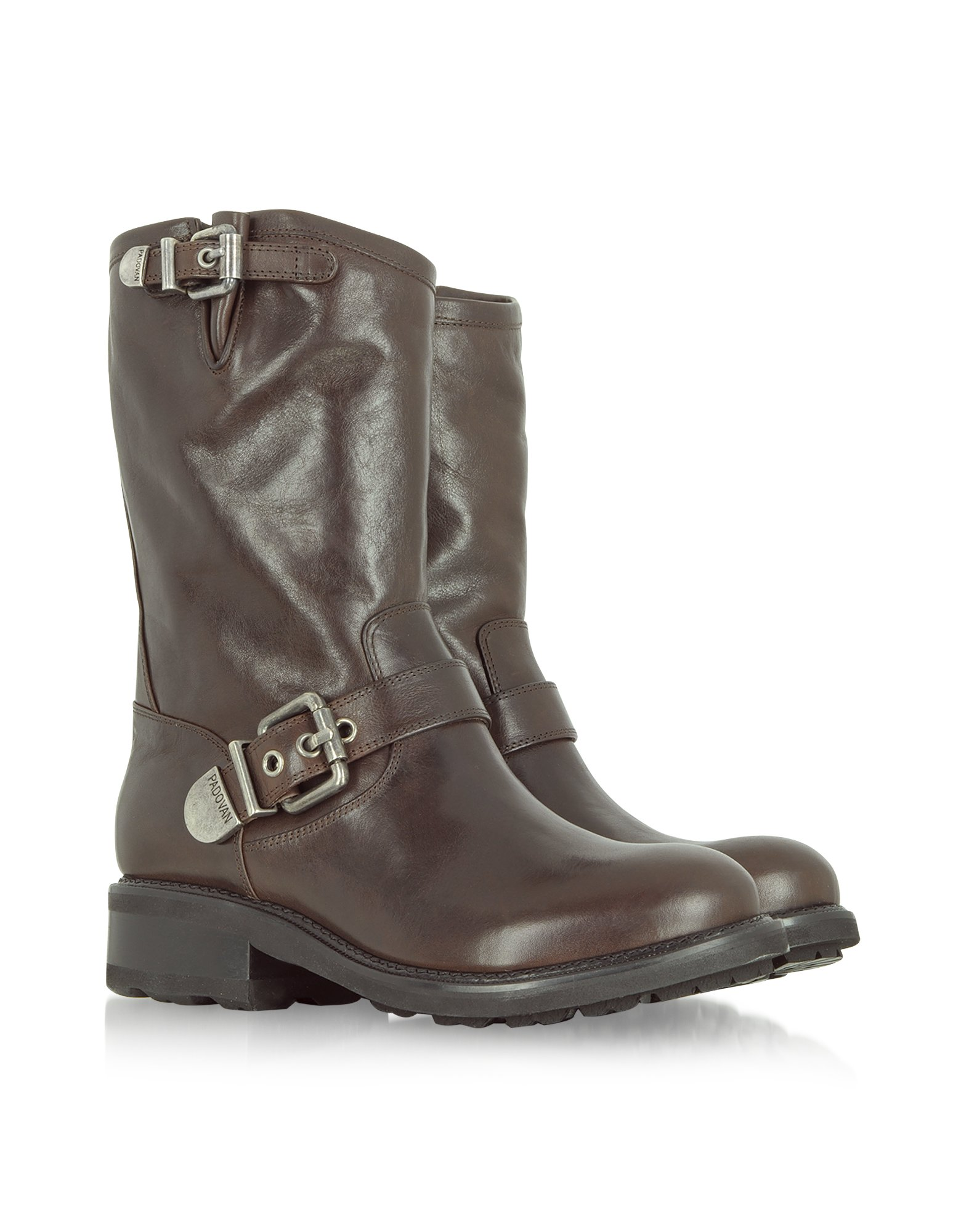 luciano padovan brown leather biker boot in gray brown