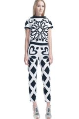 Moschino Stretch Canvas Pants in White (white/black) - Lyst