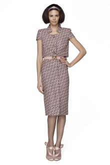 Oscar de la Renta Silk Grid Tweed Dress - Lyst