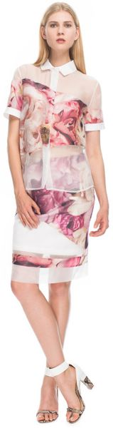 Preen  Bloom Shadow Shirt in White (peony print) - Lyst