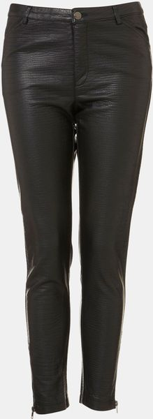 Topshop Howard Croc Embossed Faux Leather Pants in Black - Lyst