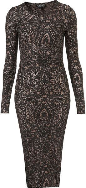Topshop Paisley Midi Bodycon Dress - Lyst