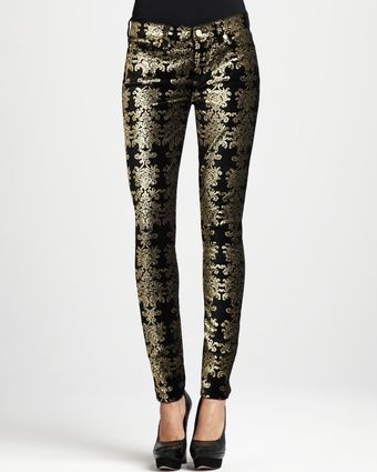7 For All Mankind Metallic Chinoiserie Jeans Blackgold - Lyst
