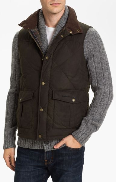 Barbour Quilted Feather Vest In Brown For Men Olive Lyst