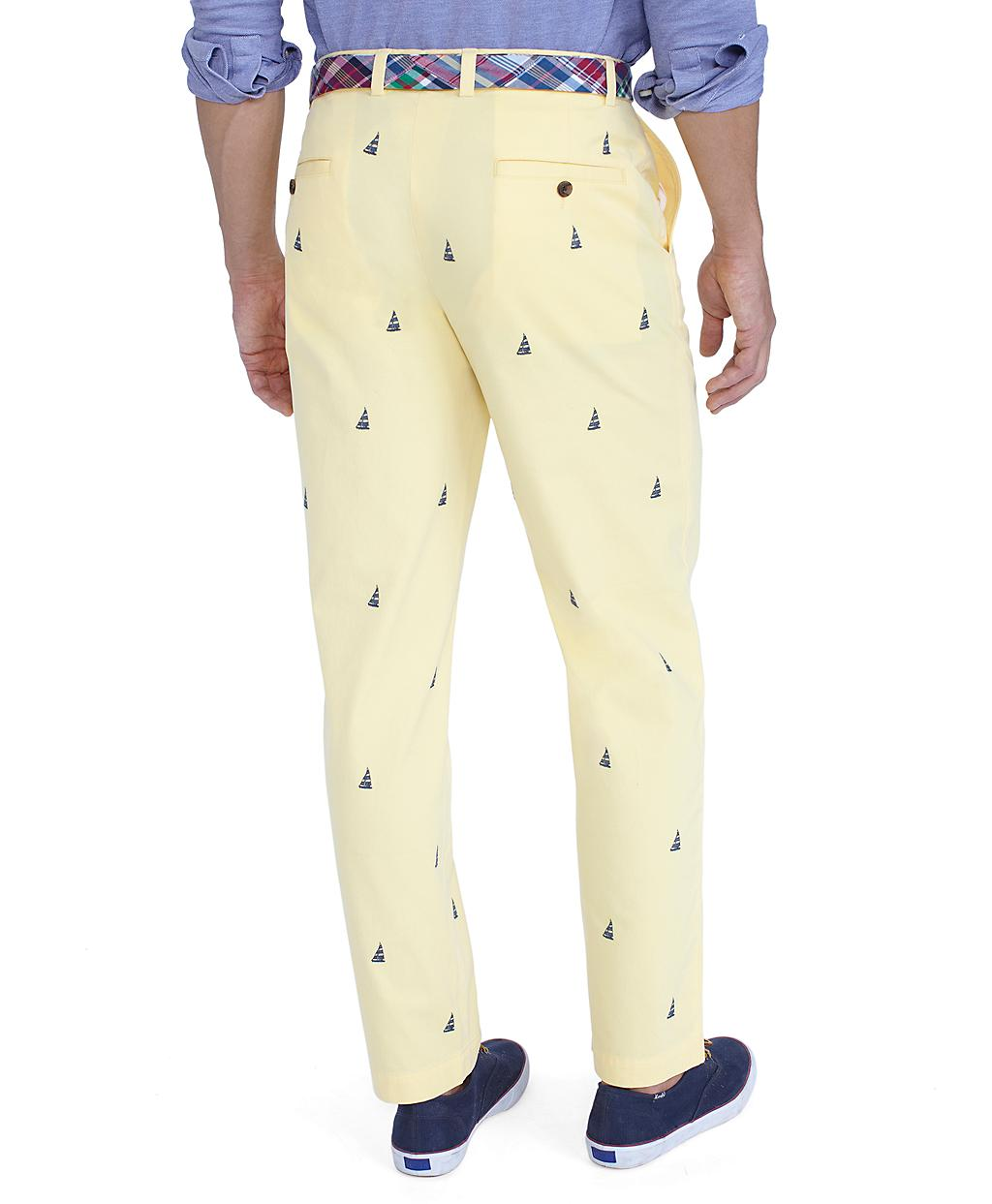 Lyst - Brooks Brothers Clark Sailboat Embroidered Pants in Yellow ... d6a94206d