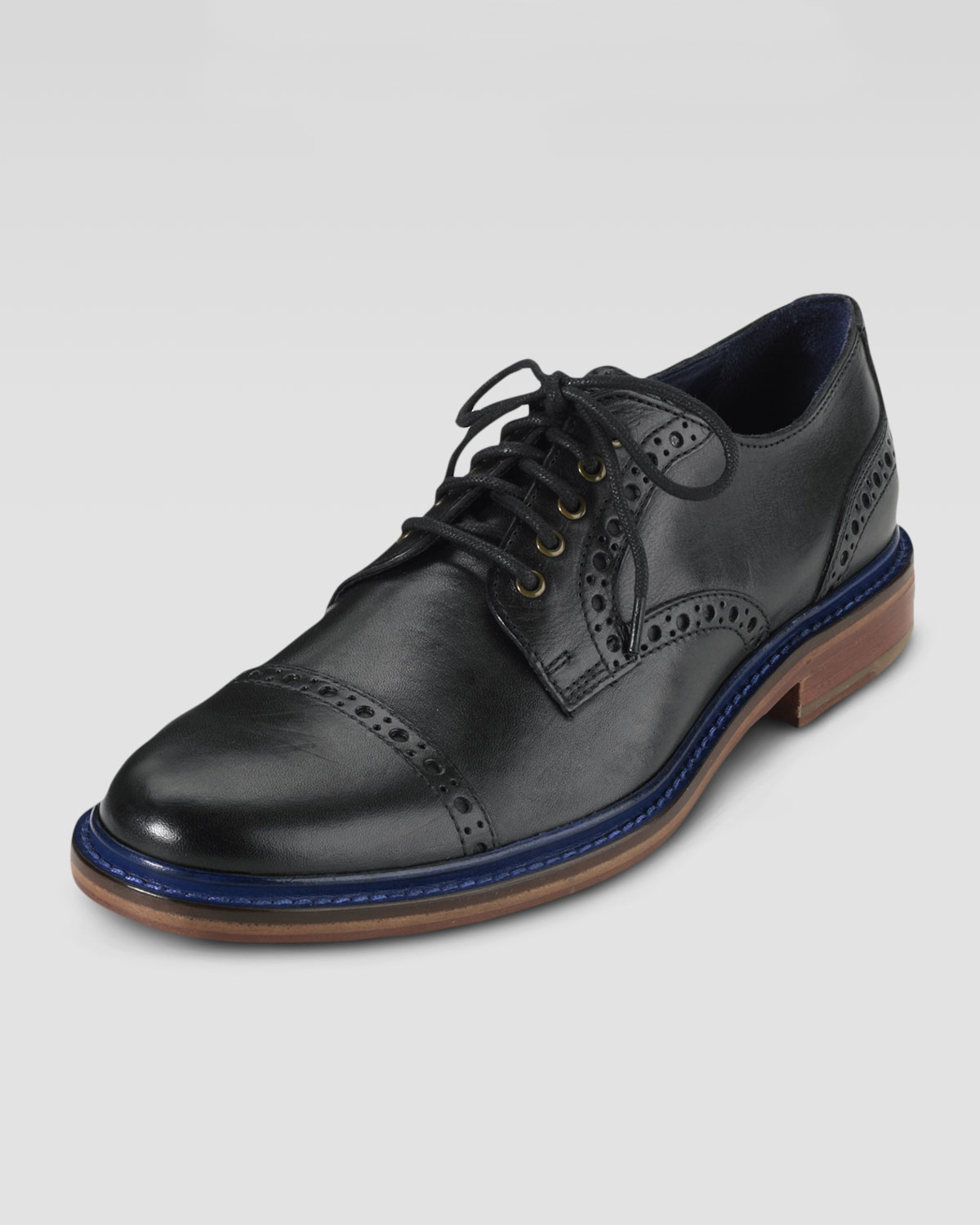 cole haan air harrison captoe shoe black in black for