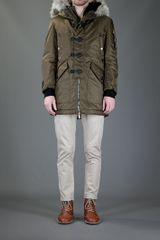 Dsquared2 Fur Collar Jacket in Khaki for Men - Lyst