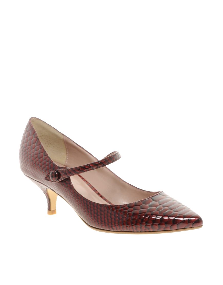 Lyst Dune Appleford Pointed Kitten Heel Shoes In Brown