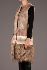 Giambattista Valli Patterned Fur Dress in Brown - Lyst