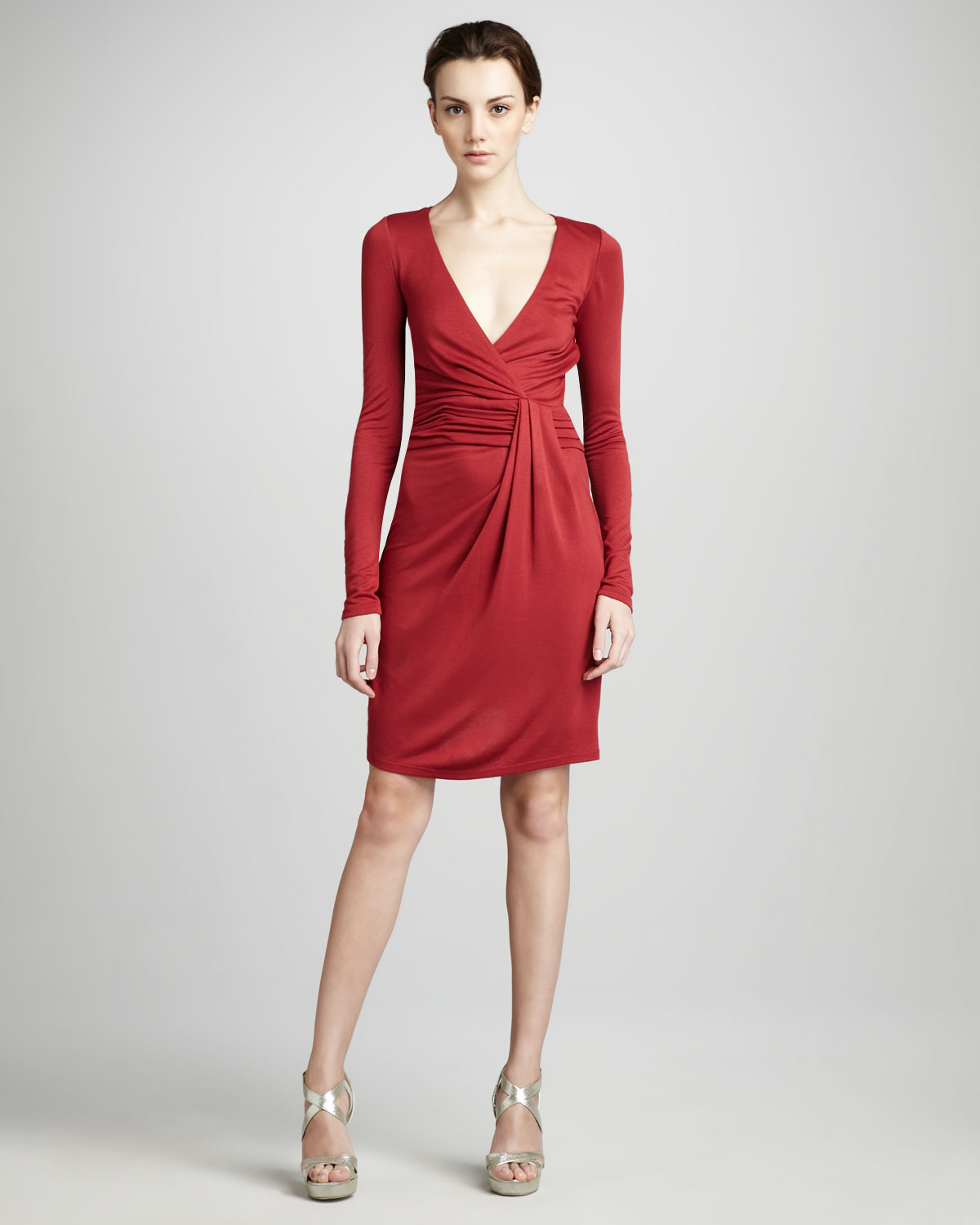 Halston heritage wrap front jersey dress in red paprika for Halston heritage shirt dress