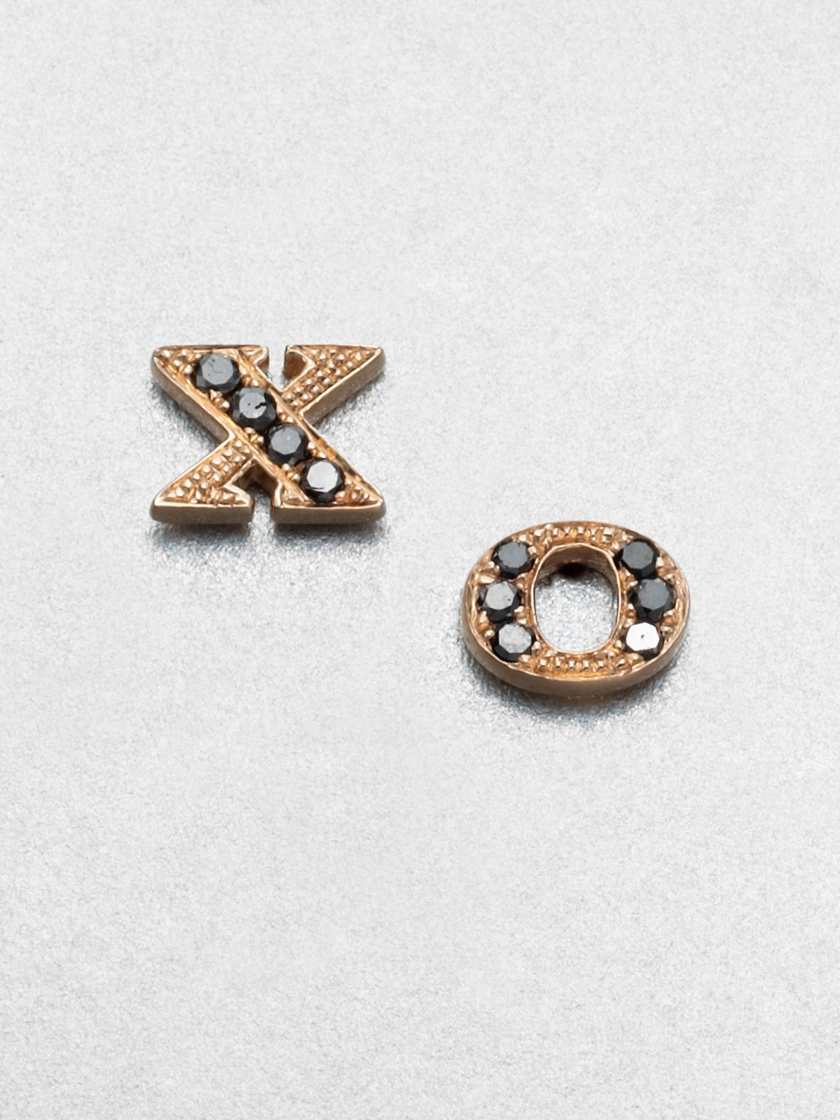 89ede7634 Sydney Evan Black Diamond 14k Rose Gold Xo Stud Earrings in Metallic ...