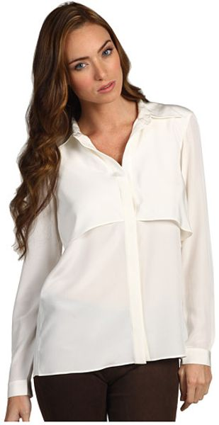 Tibi Solid Silk Drape Back Ls Shirt - Lyst